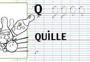 Lettre alphabet Q, apprendre à écrire