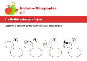 La préhistoire par le jeu, apprendre à dessiner un dinosaure