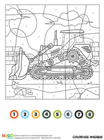Coloriage magique CE1: un bulldozer