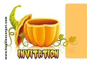 Carte invitation Halloween jolie citrouille
