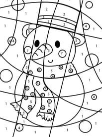 Coloriage magique bonhomme de neige