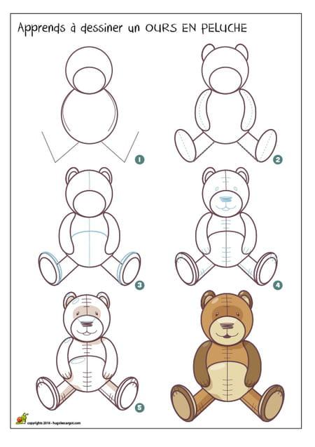 Dessiner un ours en peluche - Dessin ours facile ...
