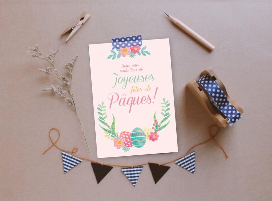 Carte de Pâques motif printanier