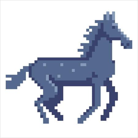 Cheval Gris En Pixel Art