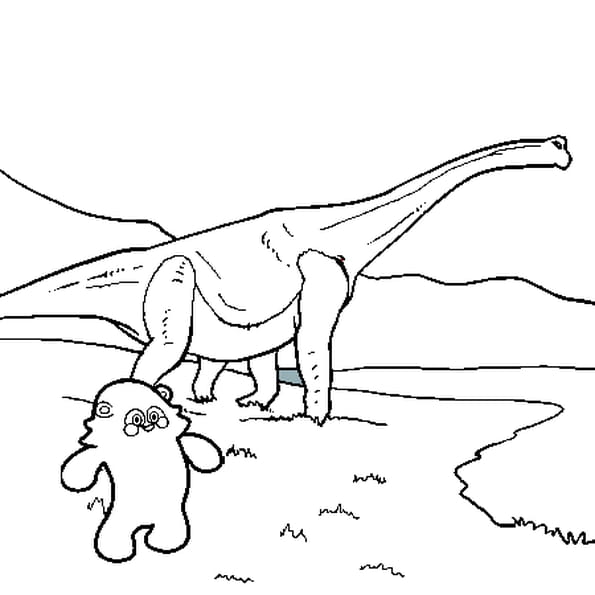 Coloriage D'un Dinosaure en Ligne Gratuit à imprimer