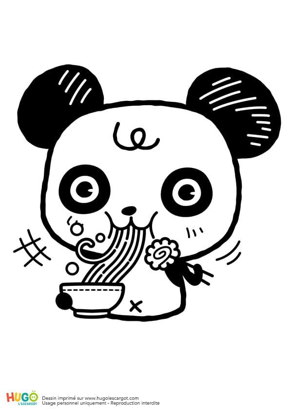 Coloriage Panda et bol de ramen kawaii en Ligne Gratuit à imprimer