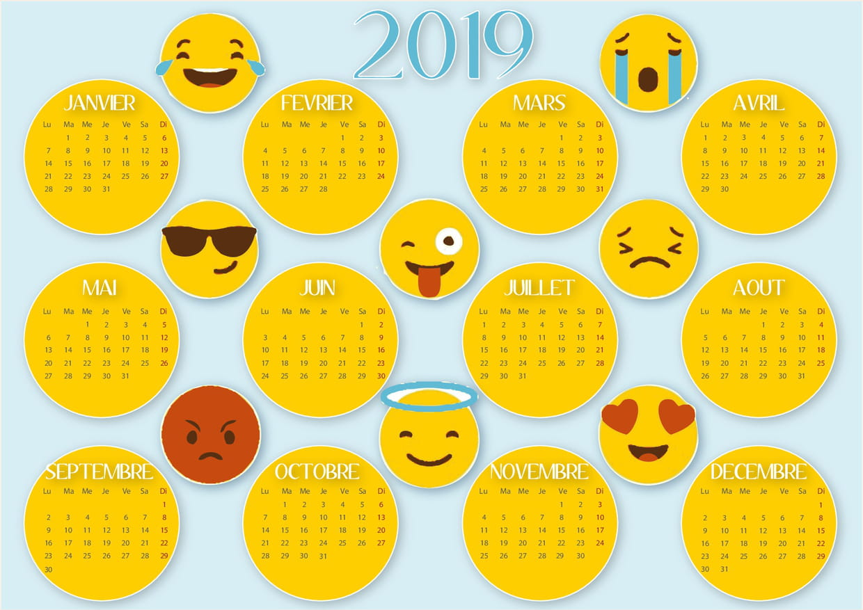 Calendrier 2019 Smiley