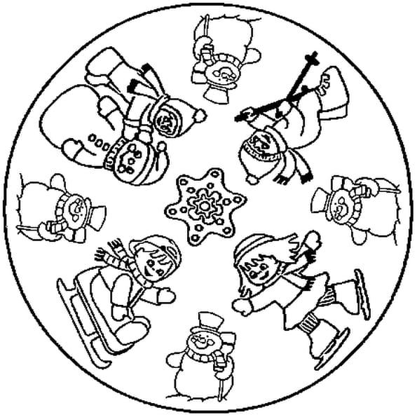Coloriage de Mandala de Noël en Ligne Gratuit à imprimer