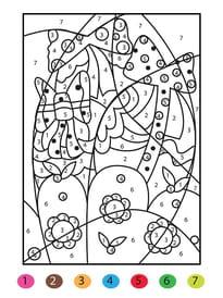 Coloriage magique panier de Pâques