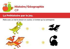 La préhistoire par le jeu, relier les ombres des dinosaures
