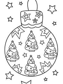 Coloriage boule de Noël sapin