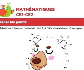 Mathématiques, relier les points, un ours assis