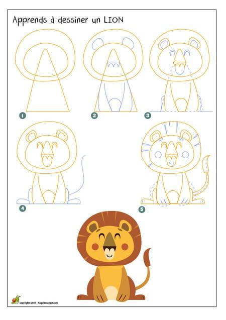 Dessiner un lion - Lion dessin facile ...