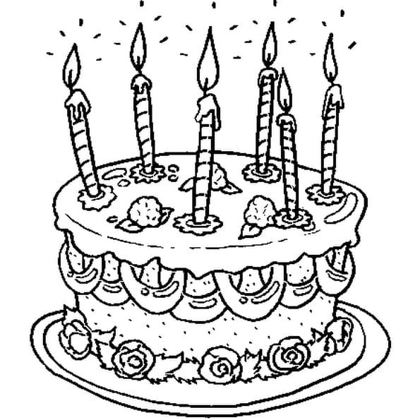 Anniversaire24 coloriage gateau anniversaire 6 ans - Dessin sur gateau anniversaire ...