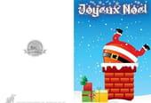Carte de vœux Père Noël tombe dans cheminée
