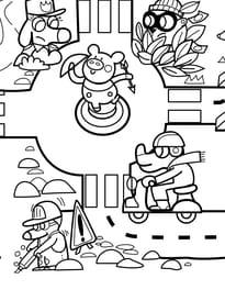 Coloriage géant du jeu de la route numéro7