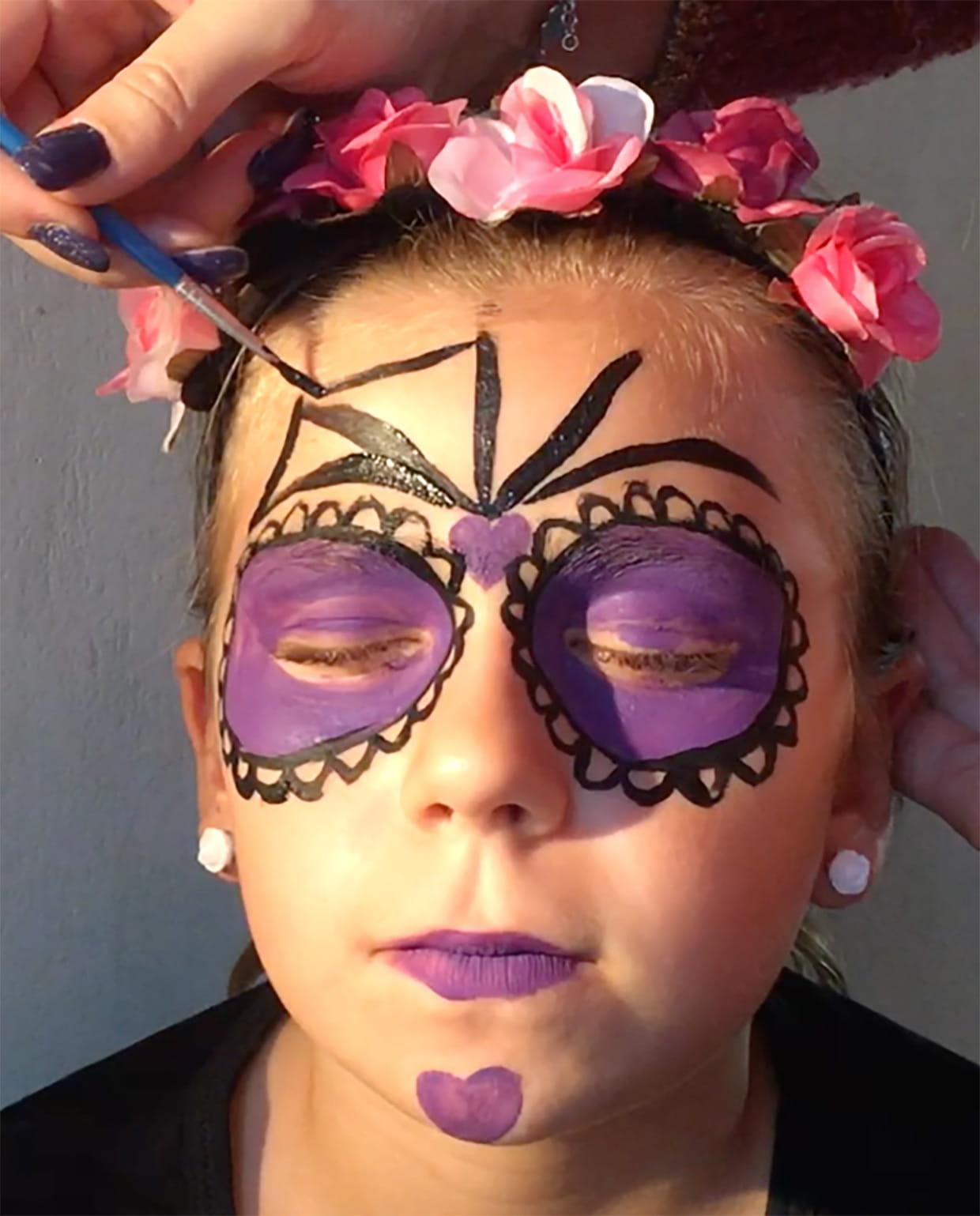 maquillage t te de mort mexicaine halloween video. Black Bedroom Furniture Sets. Home Design Ideas
