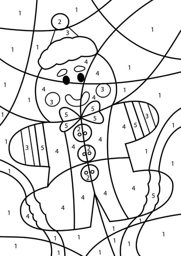Coloriage Magique Bonhomme En Pain Dépice De Noël