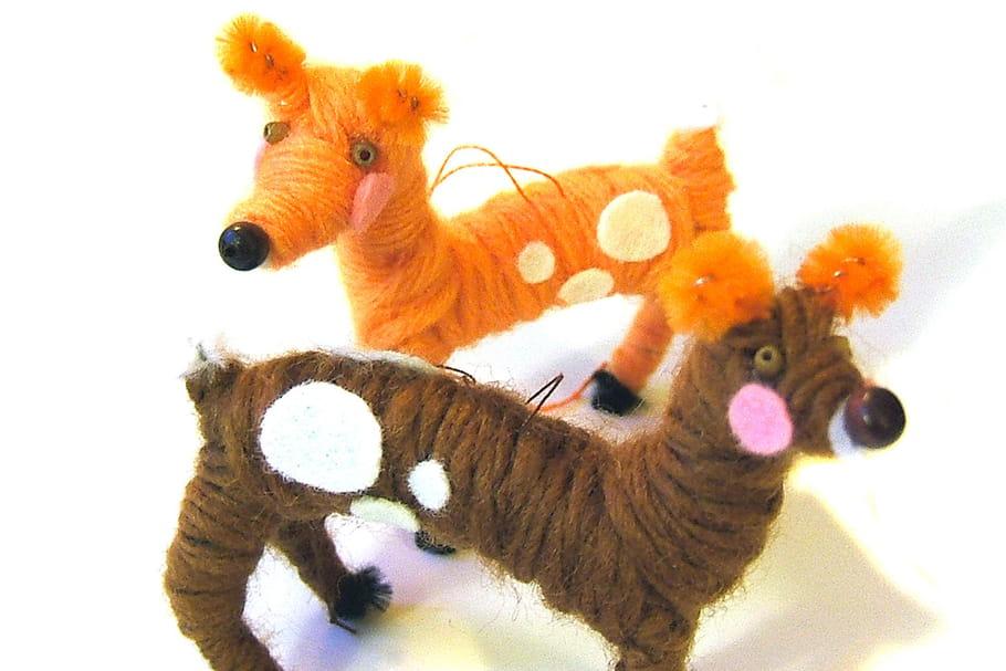 Bambis en chenilles et laine