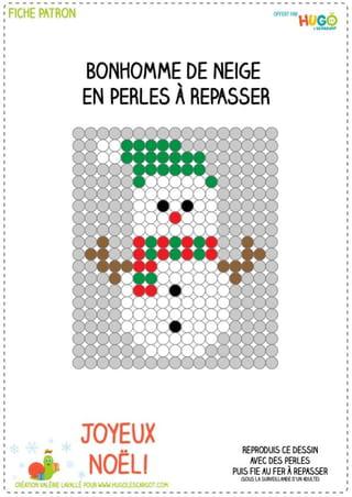 Le modèle Bonhomme de neige en perles à repasser