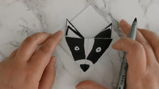 Marque-page blaireau en origami