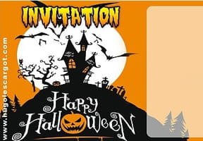 Carte invitation Halloween manoir hanté et chauve-souris