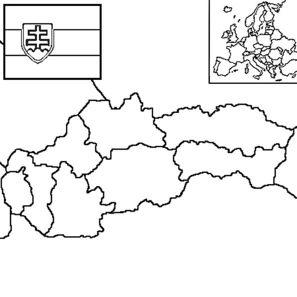 Dessin carte Slovaquie a colorier