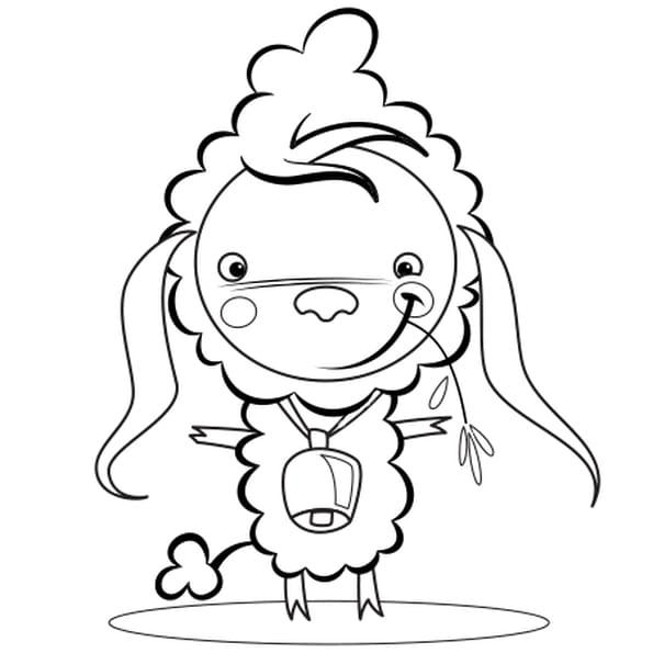 Coloriage Mouton et cloche Pâques en Ligne Gratuit à imprimer