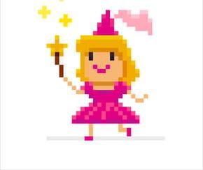 Pixel art Princesse rose
