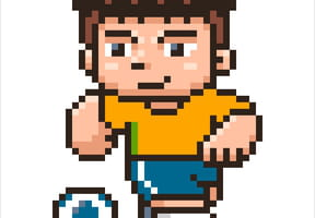 Footballeur maillot vert et jaune en pixel art