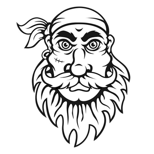 Dessin Tête de Pirate avec cicatrice a colorier