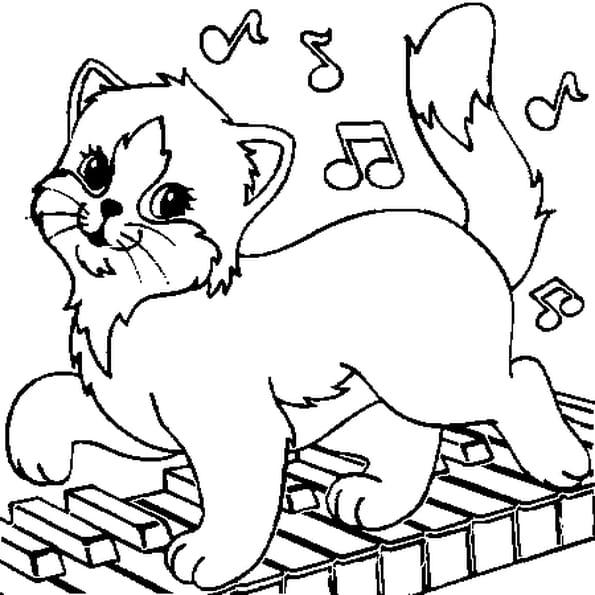 Coloriage chat musicien en Ligne Gratuit à imprimer