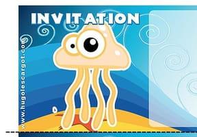Carte invitation anniversaire méduse rose