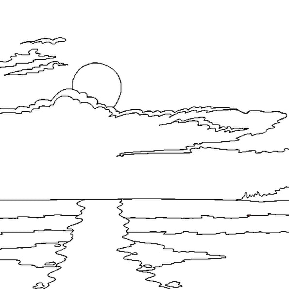 Coloriage soleil en ligne gratuit imprimer - Coucher de soleil dessin ...
