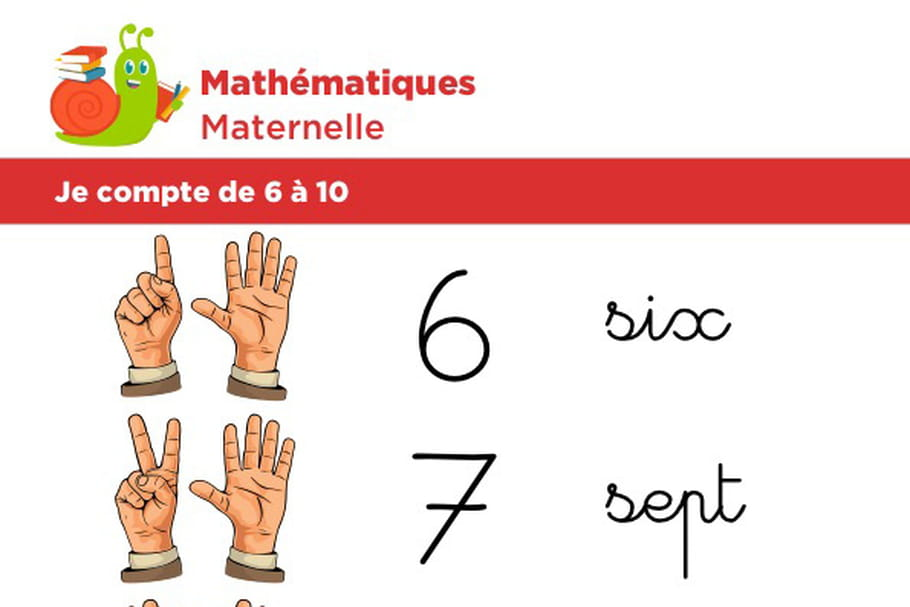 Mathématiques fiche 3, je compte de 6à 10