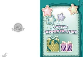 Carte anniversaire paquets et étoiles