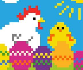 Poule et poussin de Pâques