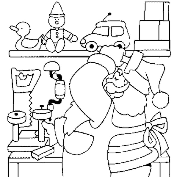 Coloriage Atelier du Père Noël en Ligne Gratuit à imprimer