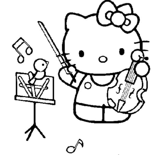 Dessin violoniste a colorier