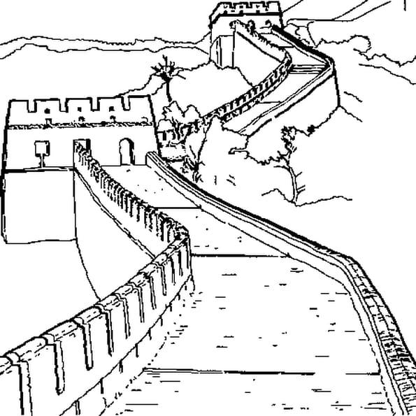 Dessin muraille de Chine a colorier