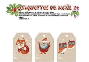 Étiquettes de Noël Scandinave