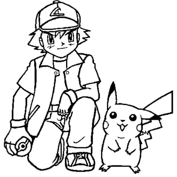 Dessin Pokémon sacha a colorier