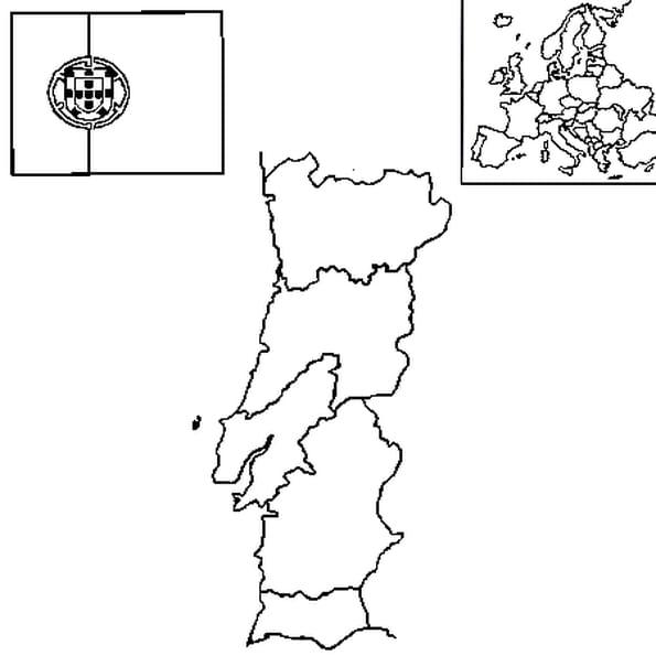 Dessin carte portugal a colorier