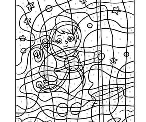 Coloriage Magique CM1, le garçon astronaute