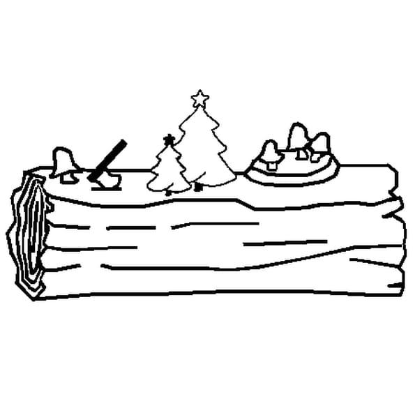 Coloriage Bûche de Noël en Ligne Gratuit à imprimer