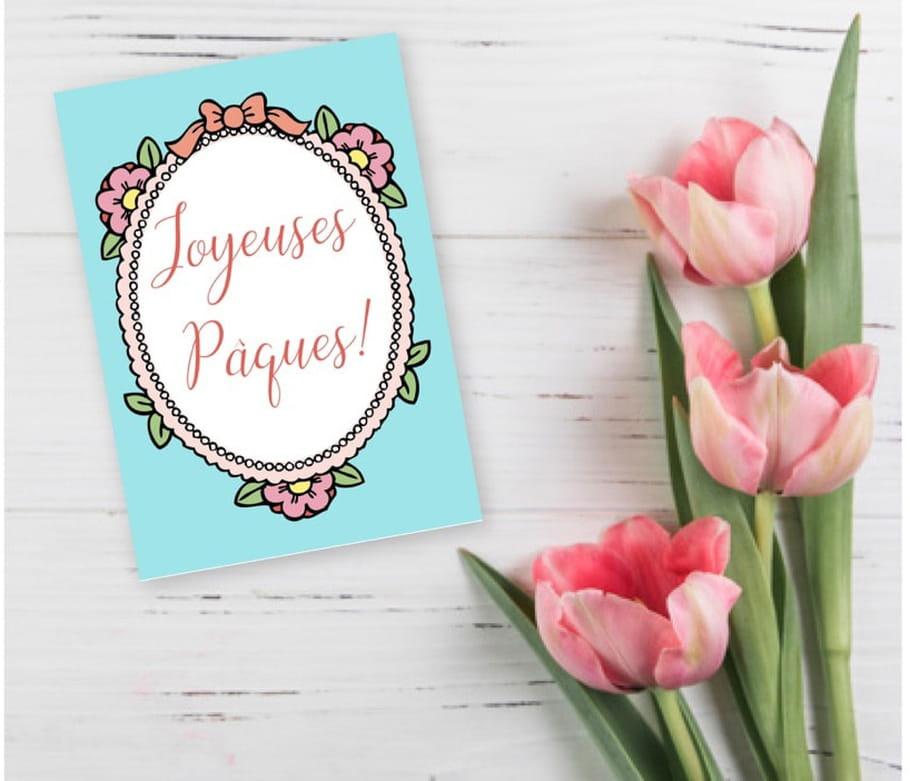 Carte de Pâques cadre fleuri