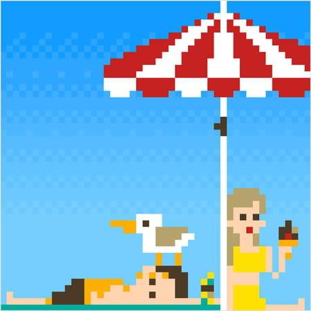 Repos Sur La Plage En Pixel Art