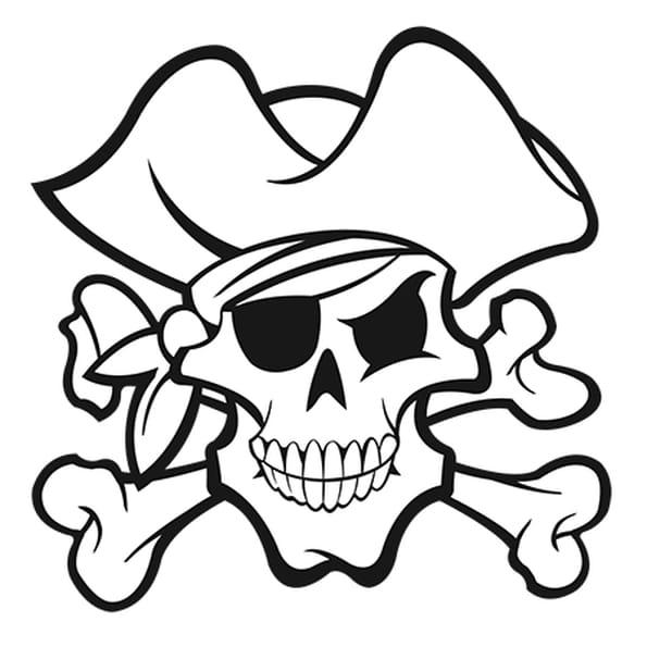 Dessin Tête de mort Pirate a colorier