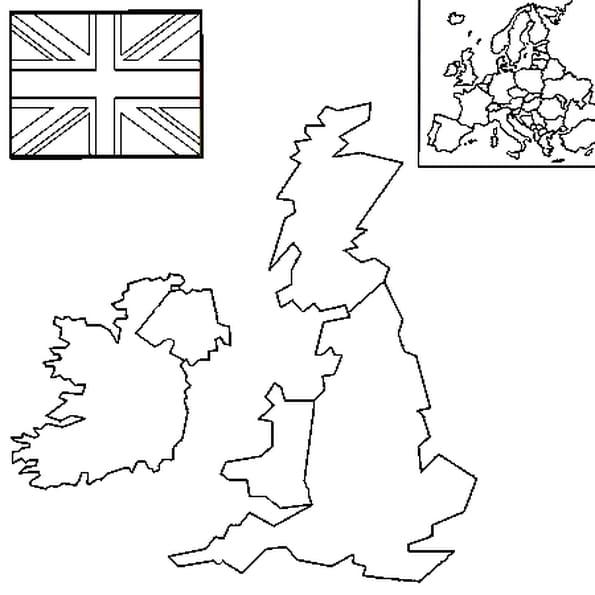 Carte De Langleterre Vierge.Coloriage Carte Royaume Uni En Ligne Gratuit A Imprimer