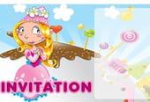 Carte invitation anniversaire princesse rose